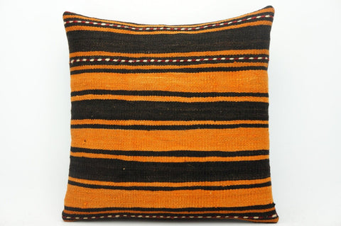 CLEARANCE Striped  pillow cover orange , Turkish Kilim pillowcase , 16x16 pillow   1427 - kilimpillowstore  - 1