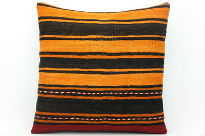 CLEARANCE Orange pillow cover striped , Kilim pillow orange , 16x16 pillow   1428 - kilimpillowstore  - 1