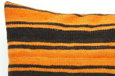 CLEARANCE Black striped Orange red pillow cover  , Kilim pillow orange , 16x16 pillow   1430 - kilimpillowstore  - 3