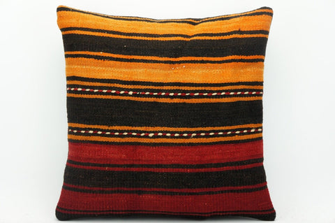 CLEARANCE Striped pillow case red  , Kilim cushion cover red , 16x16 pillow   1434 - kilimpillowstore  - 1