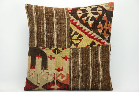 CLEARANCE Decorative patchwork pillow cover made from old kilims  yellow 1451 - kilimpillowstore  - 1