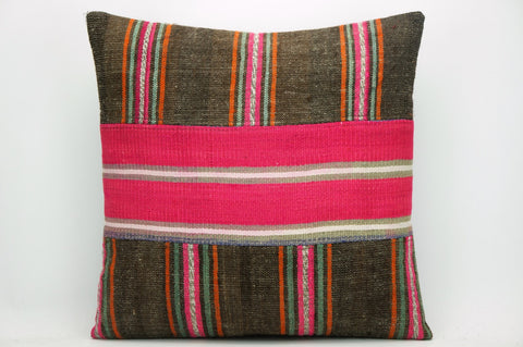 CLEARANCE Striped Kilim pillow pink ,  patchwork pillow 1463 - kilimpillowstore  - 1