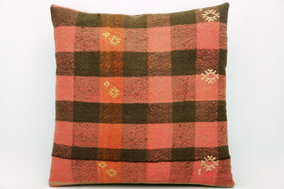 CLEARANCE Plaid  kilim pillow pink black, Decorative kilim pillow covers 16 x 16  1391 - kilimpillowstore  - 1