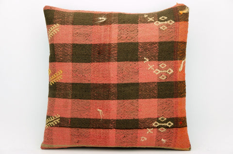 CLEARANCE Plaid  kilim pillow brown pink,  16''  1394 - kilimpillowstore  - 1