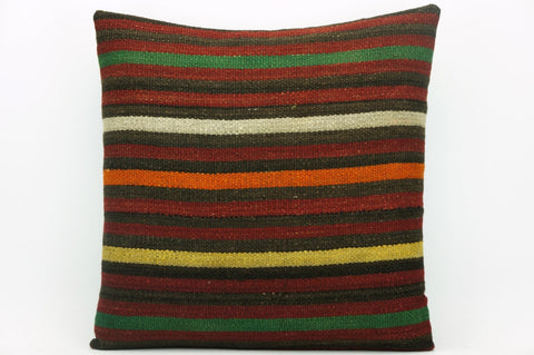 CLEARANCE Striped pillow cover , Decorative kilim pillow, 16x16 kilim pillow  1411 - kilimpillowstore  - 1