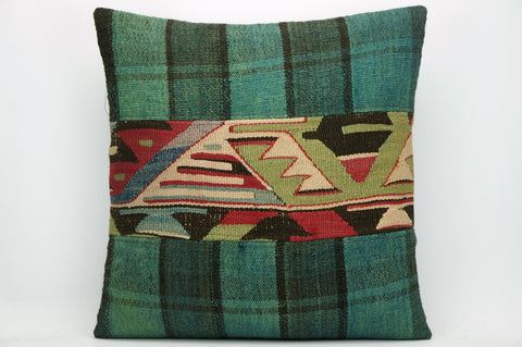CLEARANCE Kilim pillow green,  Ethnic patchwork pillow  1478 - kilimpillowstore  - 1