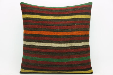 CLEARANCE Cushion cover striped , Kilim pillowcase , 16x16 pillow   1418 - kilimpillowstore  - 1