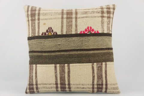 CLEARANCE Striped Kilim pillow  ,  Cream patchwork pillow  1489 - kilimpillowstore  - 1