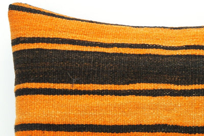 CLEARANCE Orange pillow cover striped , Kilim pillow orange , 16x16 pillow   1428 - kilimpillowstore  - 3