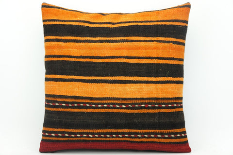 CLEARANCE Black striped Orange red pillow cover  , Kilim pillow orange , 16x16 pillow   1430 - kilimpillowstore  - 1
