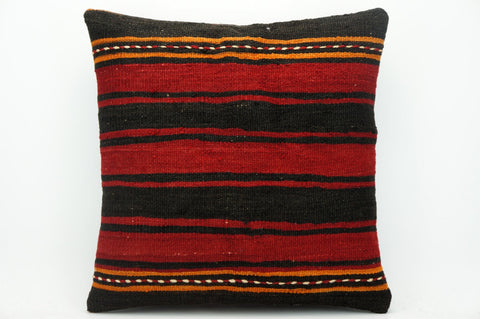CLEARANCE Striped pillow cover red  , Kilim pillow red , 16x16 pillow   1432 - kilimpillowstore  - 1
