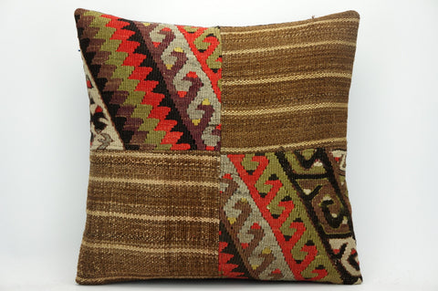 CLEARANCE Brown geometric patchwork kilim pillow 16x16  ,decorative pillow cover brown 1443 - kilimpillowstore  - 1