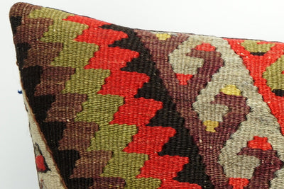 CLEARANCE Brown geometric patchwork kilim pillow 16x16  ,decorative pillow cover brown 1443 - kilimpillowstore  - 3