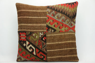 CLEARANCE Kilim pillow brown  ,decorative patchwork pillow cover brown 1447 - kilimpillowstore  - 1