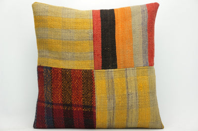 CLEARANCE Decorative patchwork pillow cover made from old kilims  yellow 1450 - kilimpillowstore  - 1
