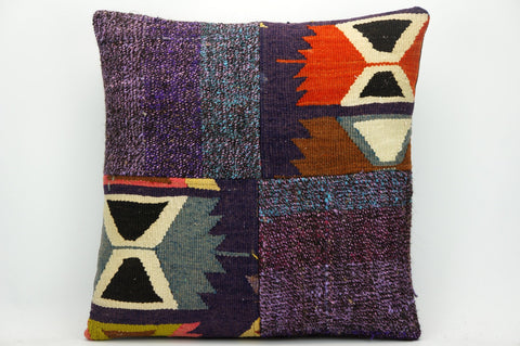 CLEARANCE Kilim pillow purple , patchwork pillow 1457 - kilimpillowstore  - 1