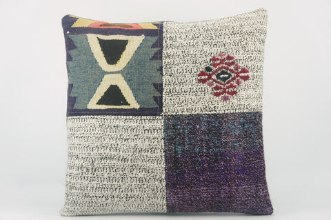 Geometric Kilim pillow  , Purple patchwork pillow  1493 - kilimpillowstore  - 1