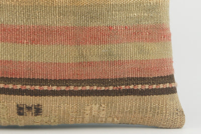 Handwoven decorative beige pillow, Decorative Kilim pillow , Bohemian style 1504 - kilimpillowstore  - 4