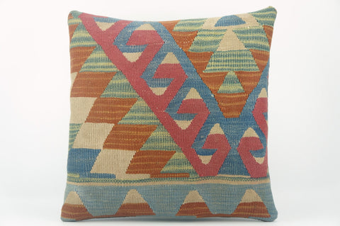 Geometric  handwoven blue  pillow , Decorative Kilim pillow cover  1527 - kilimpillowstore  - 1
