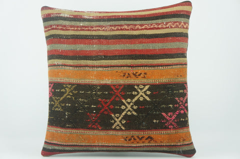 Distressed Embroidered  handwoven  pillow , Decorative Kilim pillow cover  1543 - kilimpillowstore  - 1