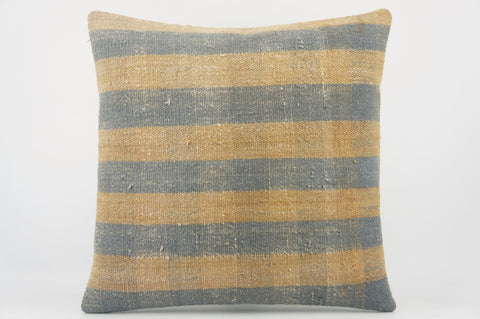 Blue striped mustard pillow , Decorative Kilim pillow cover  1519_A - kilimpillowstore  - 1
