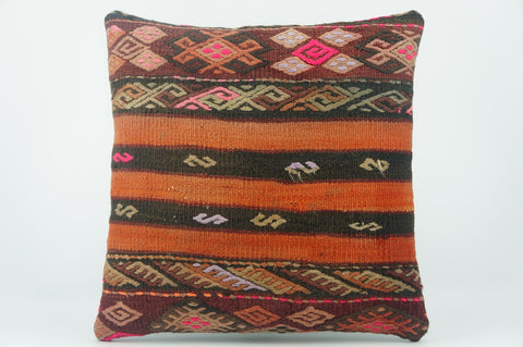 Embroidered  handwoven  pillow , Decorative Kilim pillow cover  1535 - kilimpillowstore  - 1
