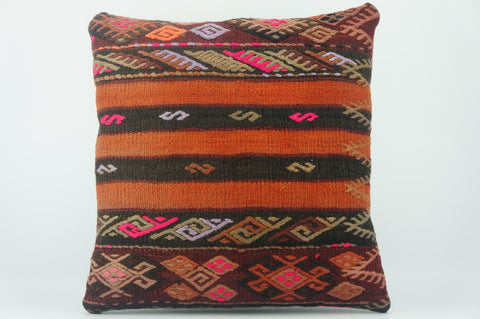 Embroidered  handwoven  pillow , Decorative Kilim pillow cover  1536 - kilimpillowstore  - 1