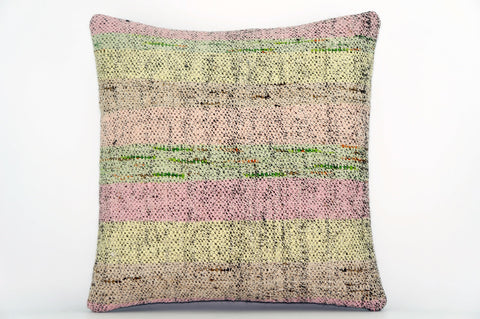 CLEARANCE Handwoven hemp pillow green pink yellow , Decorative Kilim pillow cover  1565_A - kilimpillowstore  - 1