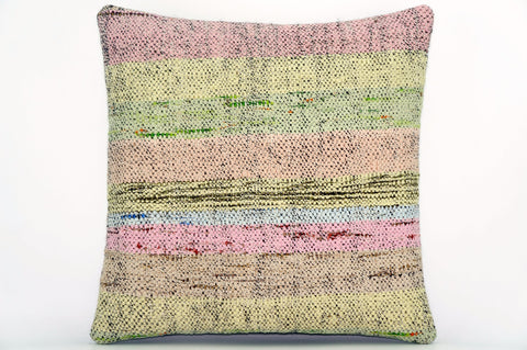 CLEARANCE Handwoven hemp pillow green pink yellow , Decorative Kilim pillow cover  1571_A - kilimpillowstore  - 1