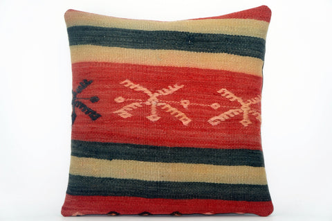 CLEARANCE Embroidered  handwoven red pillow  cover , Decorative Kilim pillow  1582 - kilimpillowstore  - 1