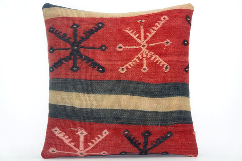 CLEARANCE Embroidered  handwoven red pillow  cover , Decorative Kilim pillow  1584 - kilimpillowstore  - 1