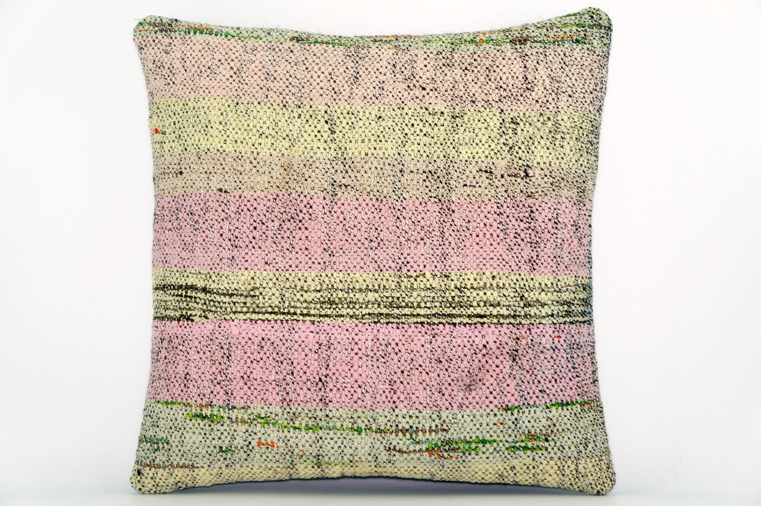 CLEARANCE Handwoven hemp pillow green pink yellow , Decorative Kilim pillow cover 1573_A