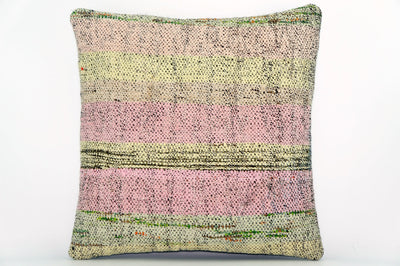 CLEARANCE Handwoven hemp pillow green pink yellow , Decorative Kilim pillow cover  1573_A - kilimpillowstore  - 1