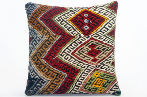 "16""  chevron zigzag pillow case, colorful accent cushion,  kilim pillow ,throw pillow cover 1607 - kilimpillowstore  - 1"