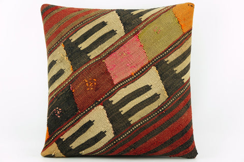 Organic kilim pillow cover, Tribal cushion cover, Handwoven pillowcase , mid century decor 1912 - kilimpillowstore  - 1