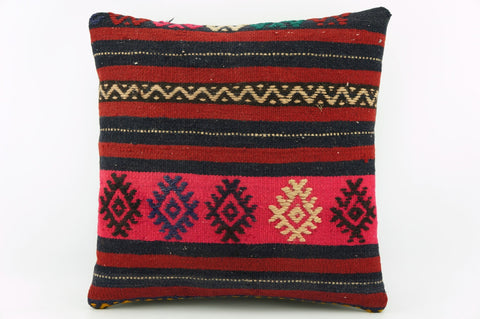 Pink striped pillow cover , Kilim pillow pink    1938 - kilimpillowstore  - 1
