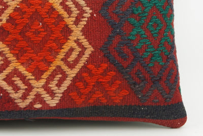 Vintage striped pillow cover , Embroidered Kilim pillow red    1940 - kilimpillowstore  - 4