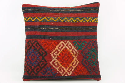 Vintage striped pillow cover , Embroidered Kilim pillow red    1940 - kilimpillowstore  - 1