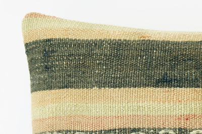 Pink striped taupe pillow cover,  Embroidered cushion cover, Kilim sham  1961 - kilimpillowstore  - 3