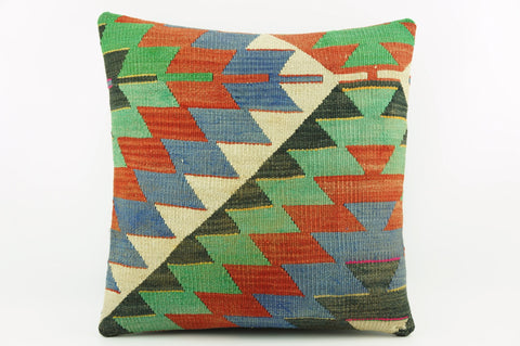 Outdoor kilim pillow , Green chevron pillow cover , Zig zag pillow cover 16x16    1974 - kilimpillowstore  - 1