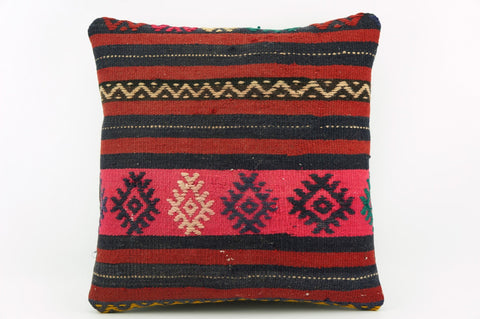 Vintage pink striped pillow cover , Embroidered Kilim pillow pink    1941 - kilimpillowstore  - 1