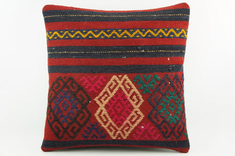 Ethnic pillow cover , Modern home decor ,  Red and Black stripes, Zig zag pillow  1946 - kilimpillowstore  - 1