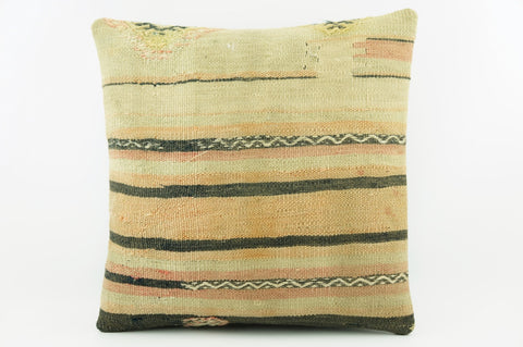 Black striped taupe pillow cover,  Embroidered cushion cover, Kilim sham  1960 - kilimpillowstore  - 1