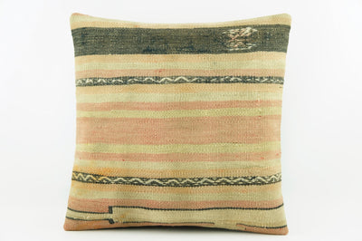 Pink striped taupe pillow cover,  Embroidered cushion cover, Kilim sham  1961 - kilimpillowstore  - 1
