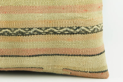 Pink striped taupe pillow cover,  Embroidered cushion cover, Kilim sham  1961 - kilimpillowstore  - 4