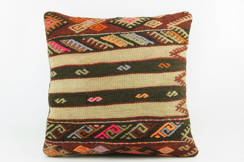 "Beige striped  embroidered pillow cover, Art deco pillow,   16"" square pillow cover  ,ethnic kilim pillow,  1990 - kilimpillowstore  - 1"