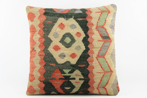 Multicolour  kilim pillow, Outdoor pillow beige and black,   2034 - kilimpillowstore  - 1