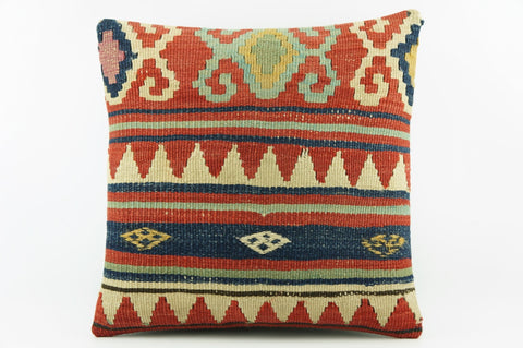 Red striped Embroidered Outdoor pillow,  Bohemian kilim pillow cover 2042 - kilimpillowstore  - 1