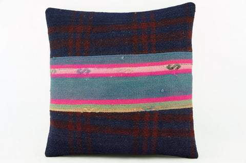 Pink striped  Kilim  pillow cover,  throw  cushion, ethnic decor,  Mediterranean  decor, Outdoor sham  2169 - kilimpillowstore  - 1