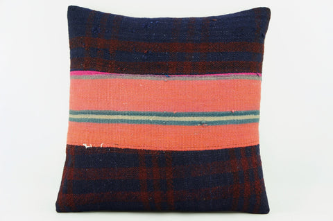 Pink striped  Kilim  pillow cover,  throw  cushion, ethnic decor,  Mediterranean  decor, Outdoor sham  2171 - kilimpillowstore  - 1